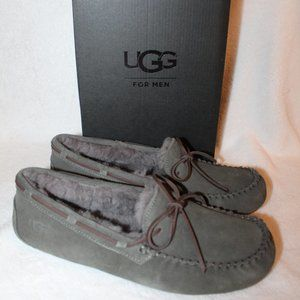 NEW UGG OLSEN SUEDE SHEARLING SLIPPERS BLACK GRAY